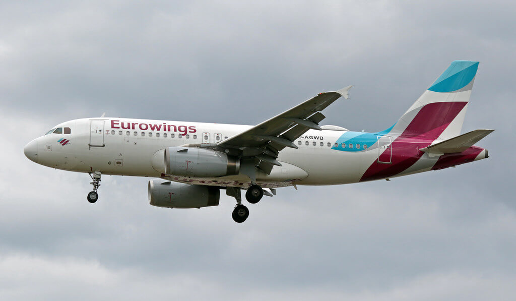 Eurowings Airbus A319 132 D AGWB at LHR Airport