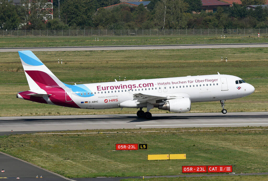 Eurowings Airbus A320 214 D ABHC Hotels powered by HRS Dusseldorf Airport