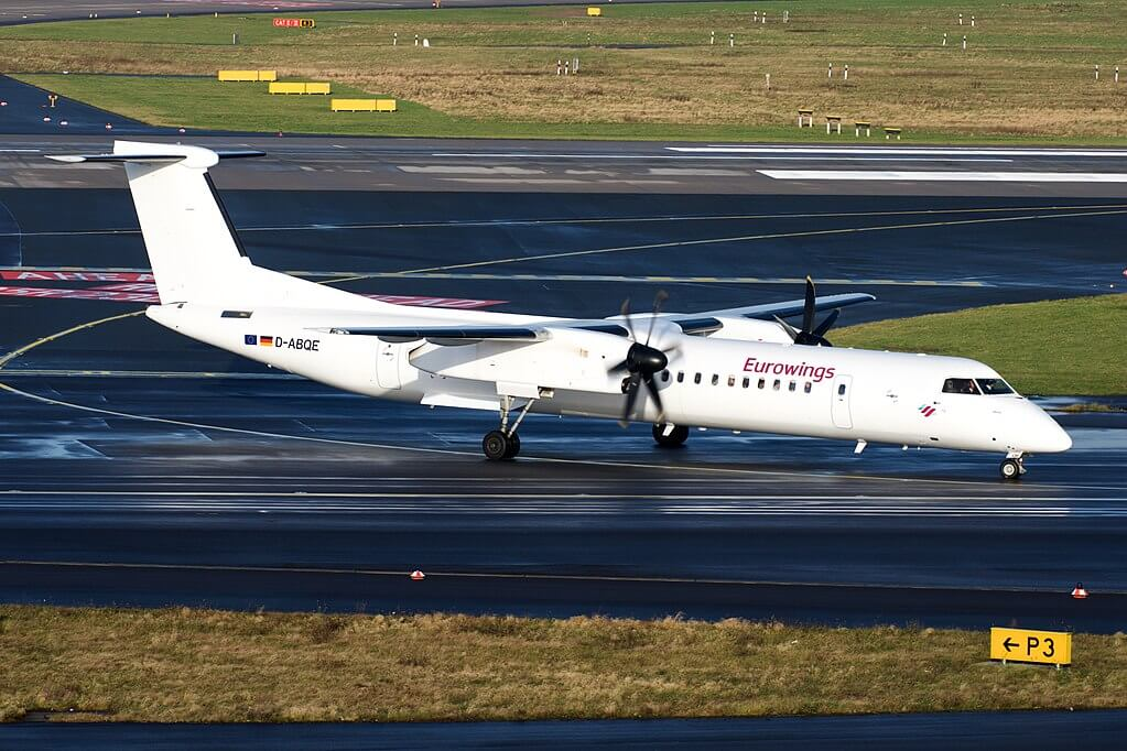 Eurowings Bombardier Dash 8 Q400 D ABQE at Dusseldorf Airport