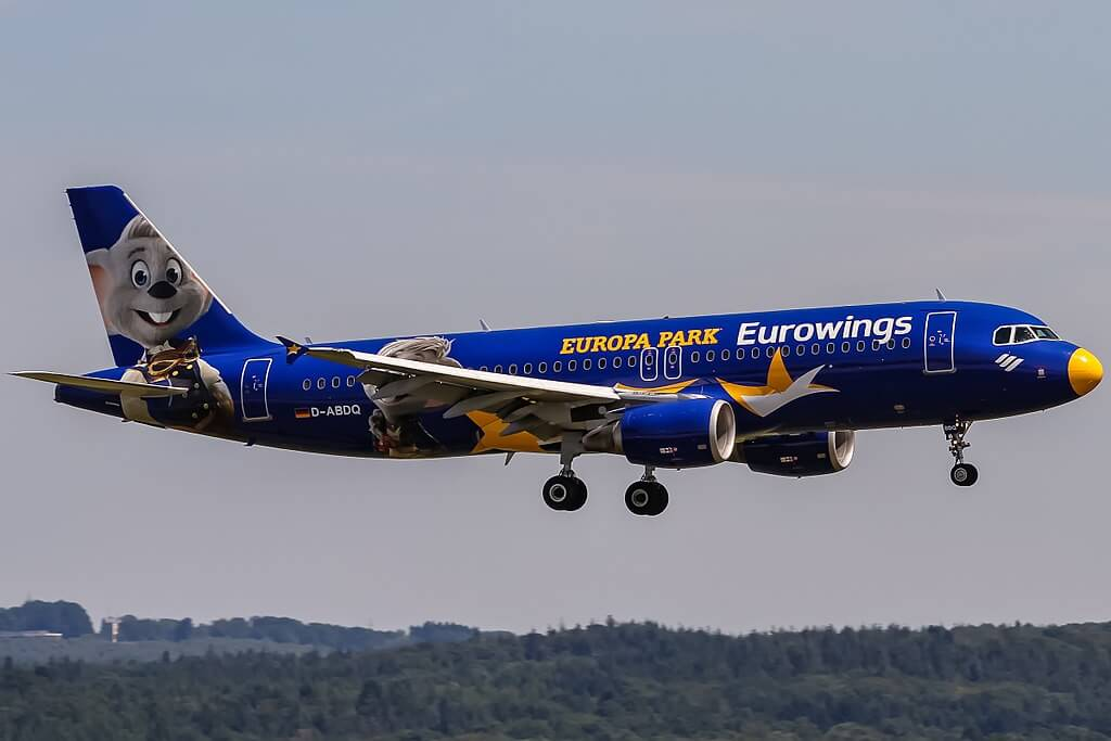 Eurowings D ABDQ Airbus A320 214 Europa Park at Cologne Bonn Airport