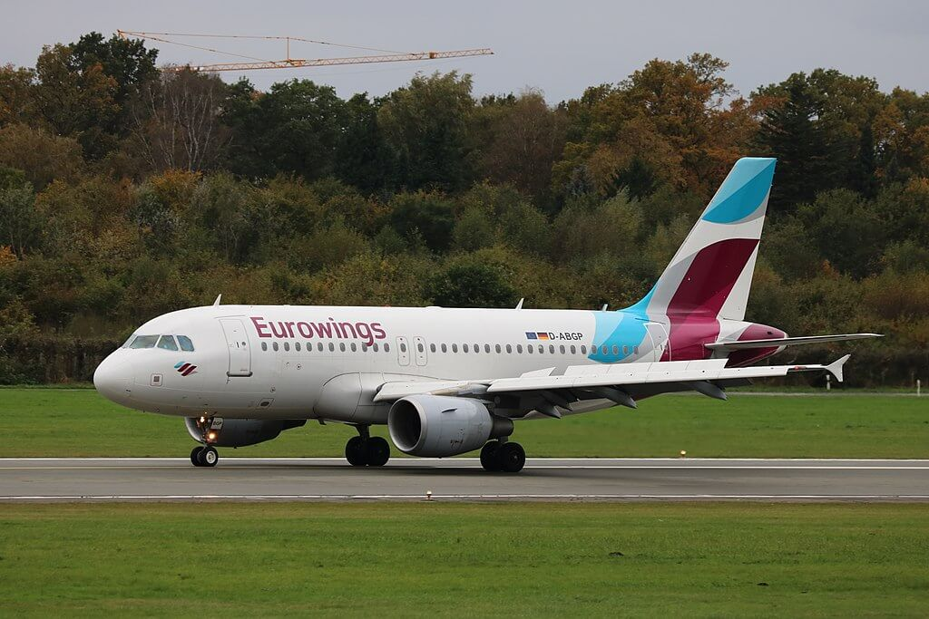 Eurowings D ABGP Airbus A319 100 at Hamburg Airport