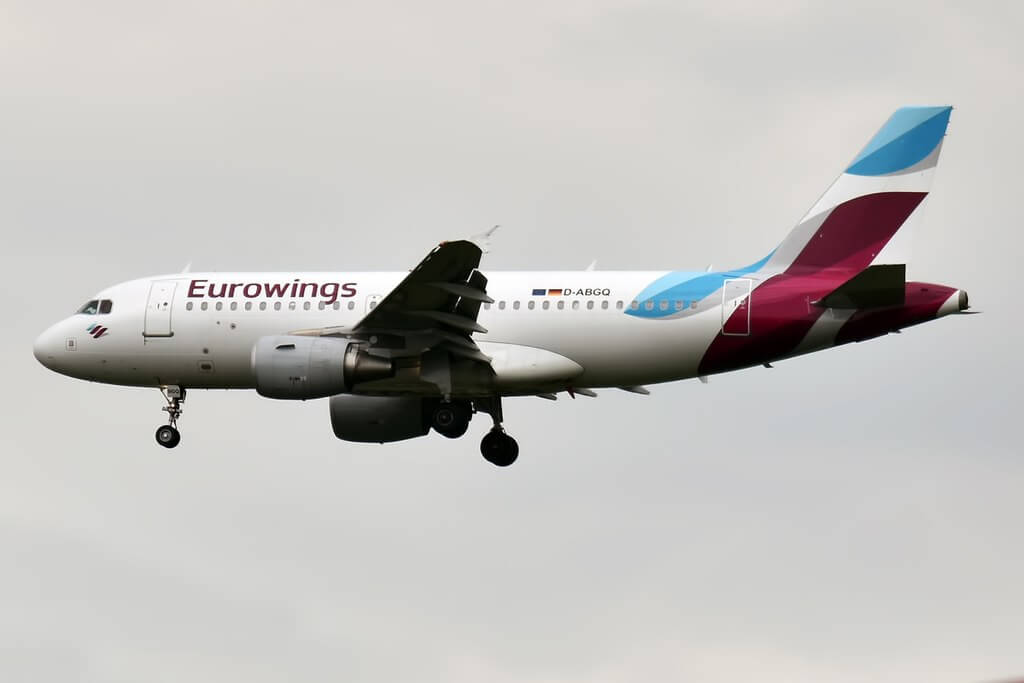 Eurowings D ABGQ Airbus A319 112 at Paris Charles de Gaulle Airport