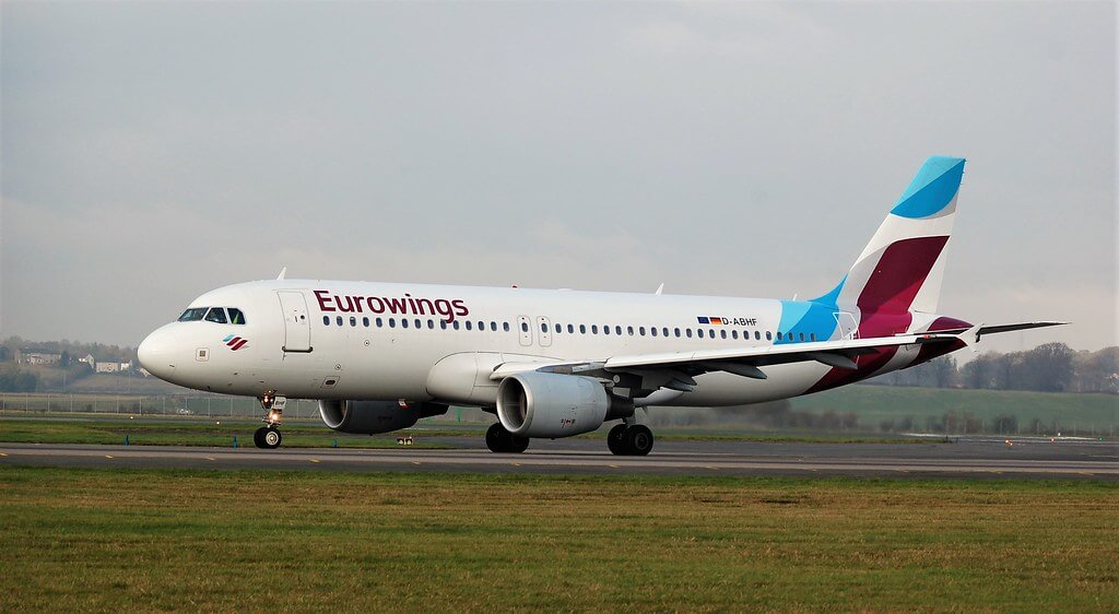 Eurowings D ABHF Airbus A320 214 at LHR Airport