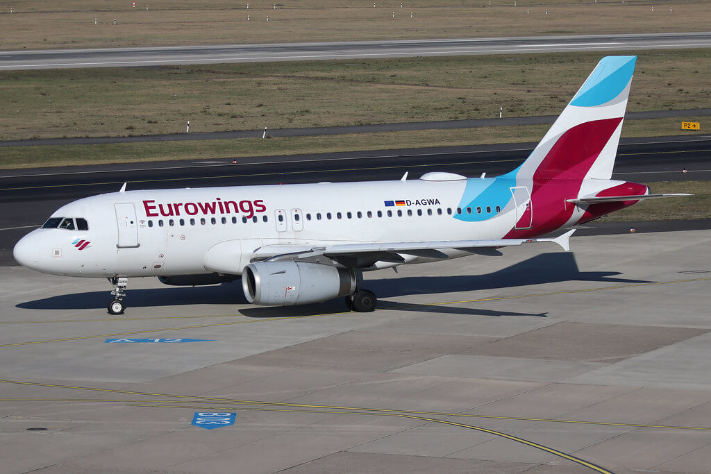 Eurowings D AGWA Airbus A319 100 at Dusseldorf International Airport