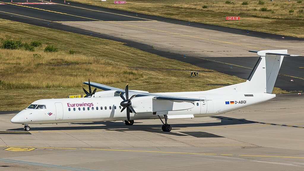 Eurowings LGW Bombardier Dash 8 Q400 D ABQI at Cologne Bonn Airport