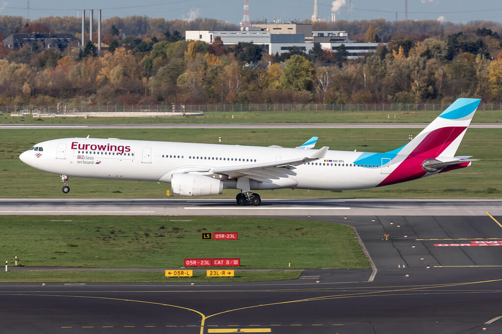 OO SFL Eurowings Airbus A330 343 at Dusseldorf Airport
