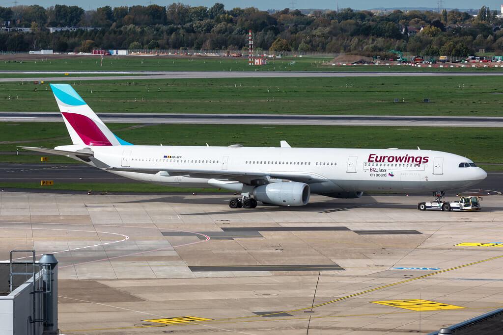 OO SFP Eurowings Brussels Airlines Airbus A330 343 at Dusseldorf Airport
