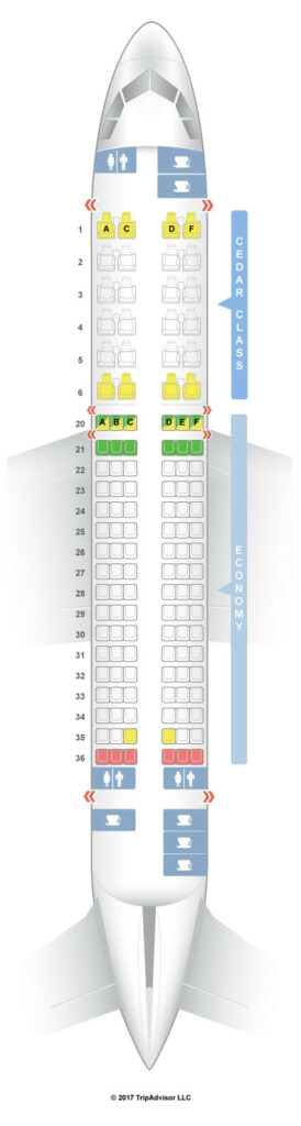 Seat Map and Seating Chart Airbus A320 200 MEA Middle East Airlines