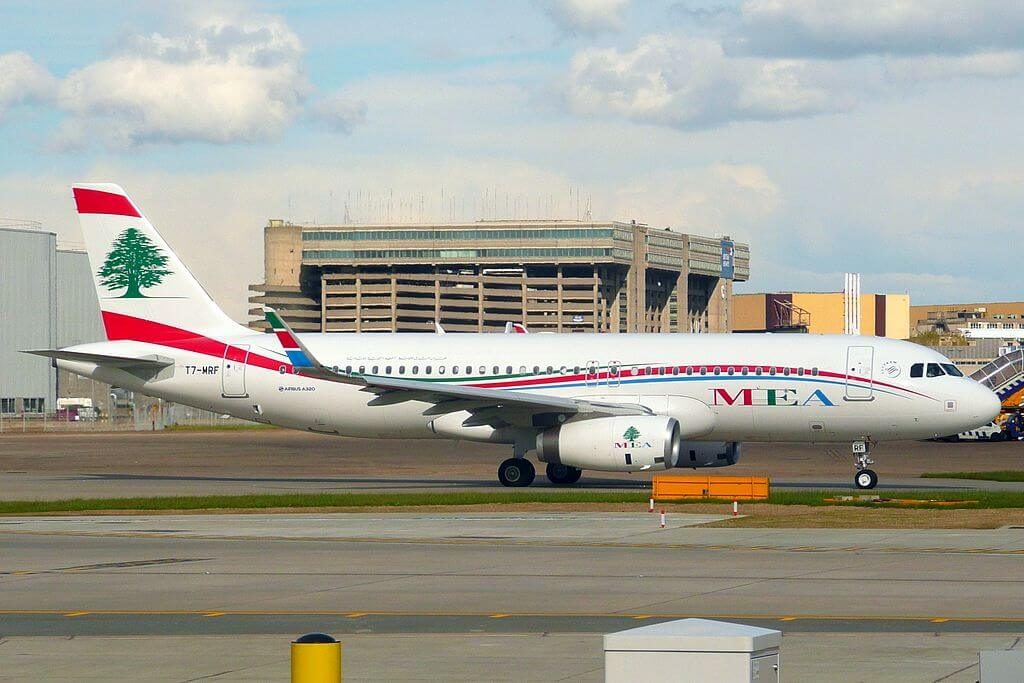 Airbus A320 200 T7 MRF Middle East Airlines MEA at London Heathrow Airport