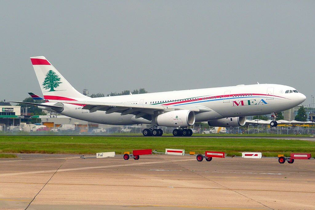 Airbus A330 200 OD MEE Middle East Airlines MEA at London Heathrow Airport