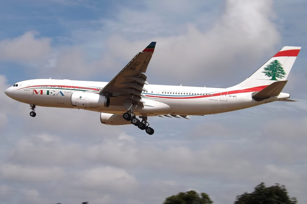 MEA Middle East Airlines Airbus A330 200 OD MEC at London Heathrow Airport
