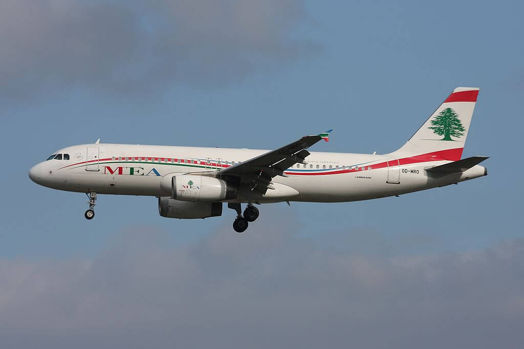 Middle East Airlines MEA Airbus A320 232 OD MRO at Frankfurt Airport