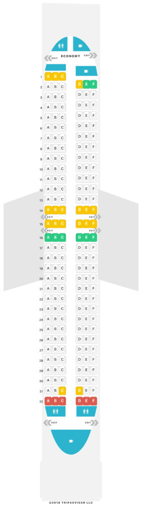 Seat Map and Seating Chart Jeju Air Boeing 737 800 Single Economy Class 189 Seats