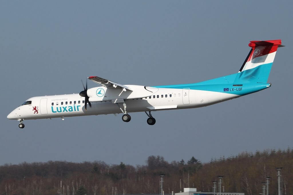 De Havilland Canada DHC 8 402Q Luxair LX LGF at at Luxembourg Findel International Airport