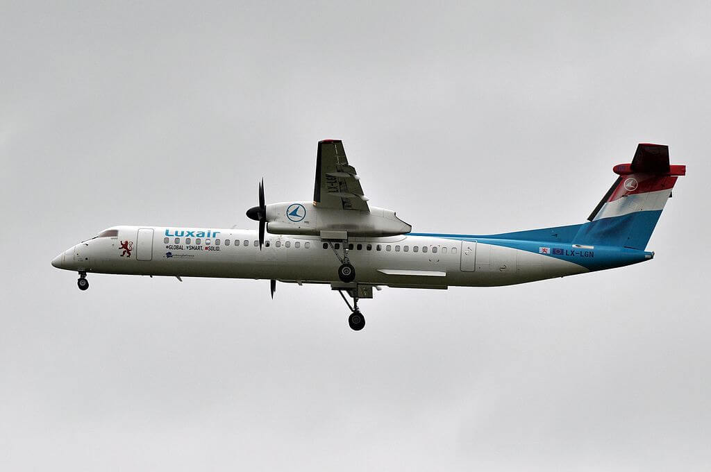 LX LGN De Havilland Canada DHC 8 400 of Luxair at Paris Charles de Gaulle Airport