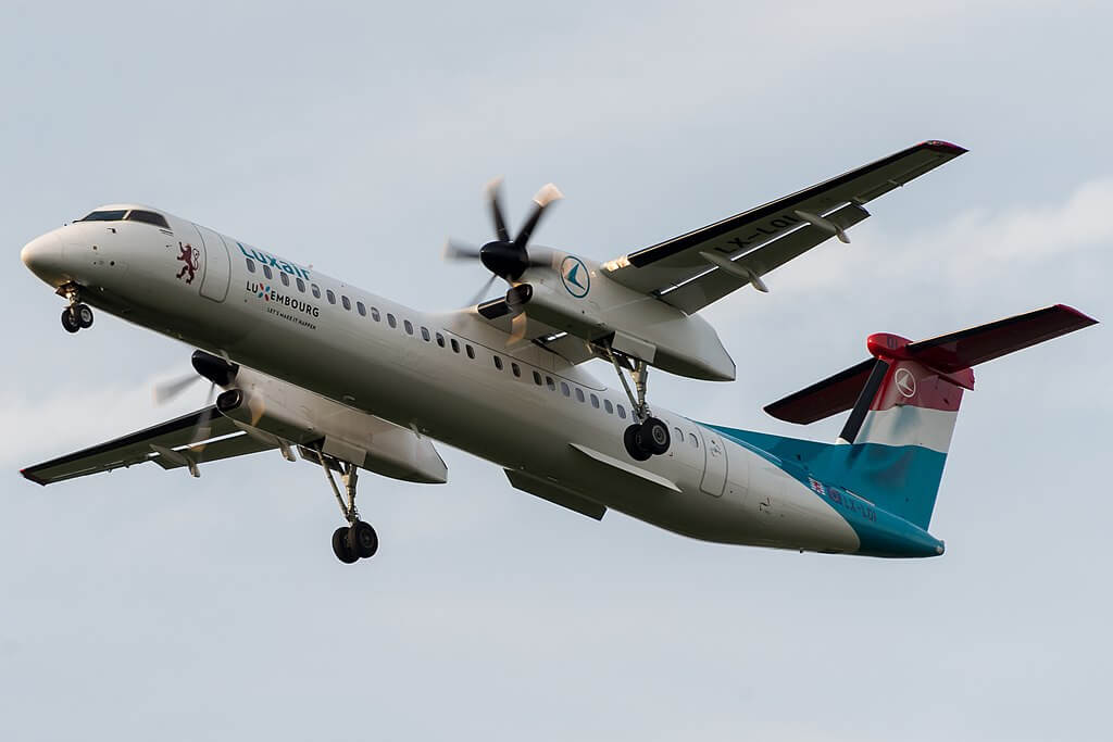 Luxair DHC 8 Q400 LX LQI at Luxembourg Findel International Airport