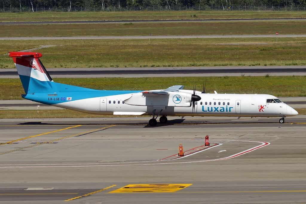 Luxair LX LGE Bombardier Dash 8 Q400 at Milan Malpensa Airport