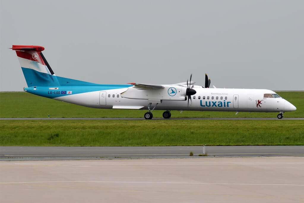 Luxair LX LQD Bombardier DHC 8 402Q at Paris Charles de Gaulle Airport