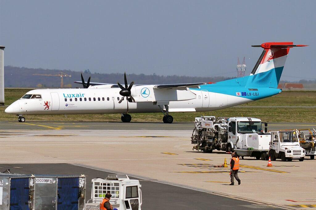 Luxair LX LQJ Bombardier Dash 8 Q400 at Paris Charles de Gaulle Airport