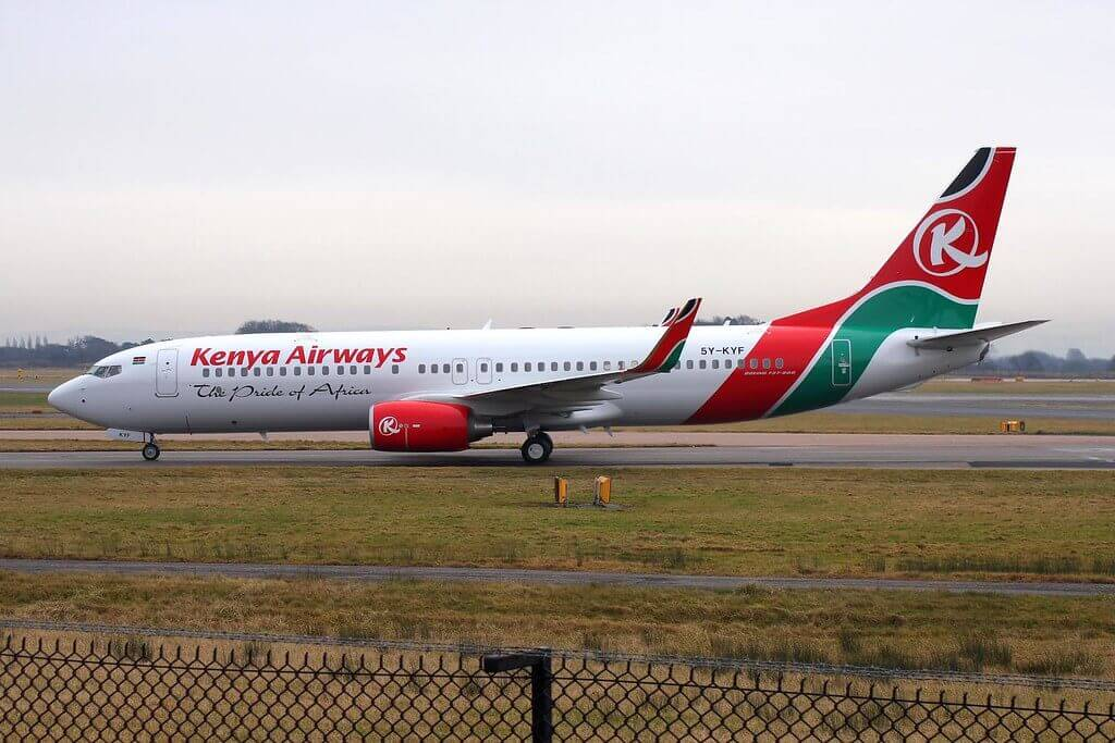 5Y KYF Boeing 737 86NW Kenya Airways at Manchester Airport