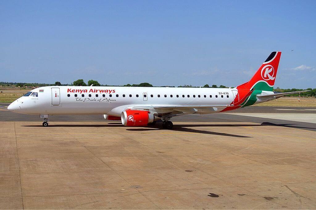 5Y KYQ Kenya Airways Embraer ERJ 190 at Jomo Kenyatta International Airport