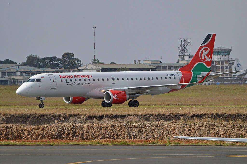 Embraer ERJ 190AR 5Y FFK Kenya Airways at Jomo Kenyatta International Airport
