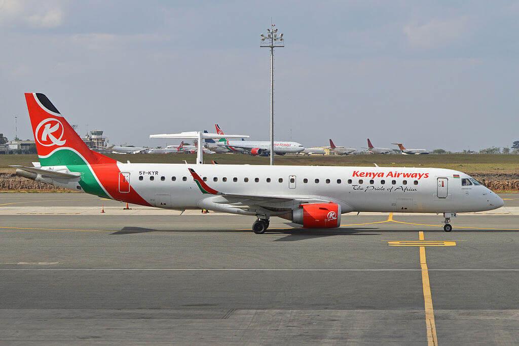 Embraer ERJ 190AR 5Y KYR Kenya Airways at Jomo Kenyatta International Airport