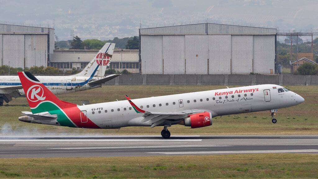 Kenya Airways 5Y FFD Embraer ERJ 190 at Cape Town Airport