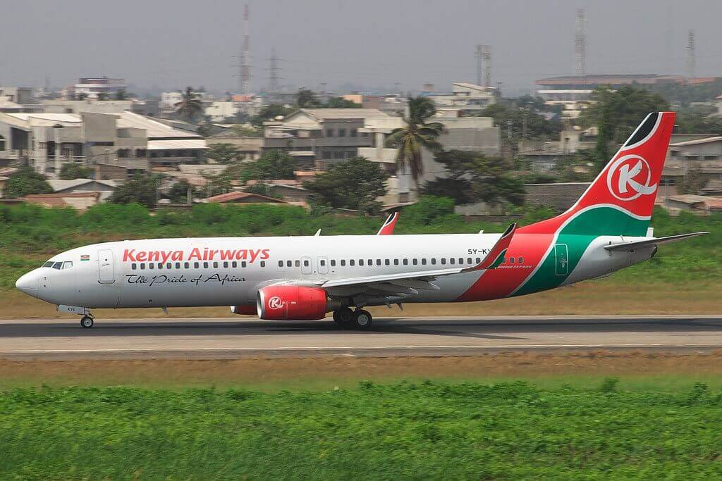 Kenya Airways 5Y KYE Boeing 737 800 at Cotonou airport
