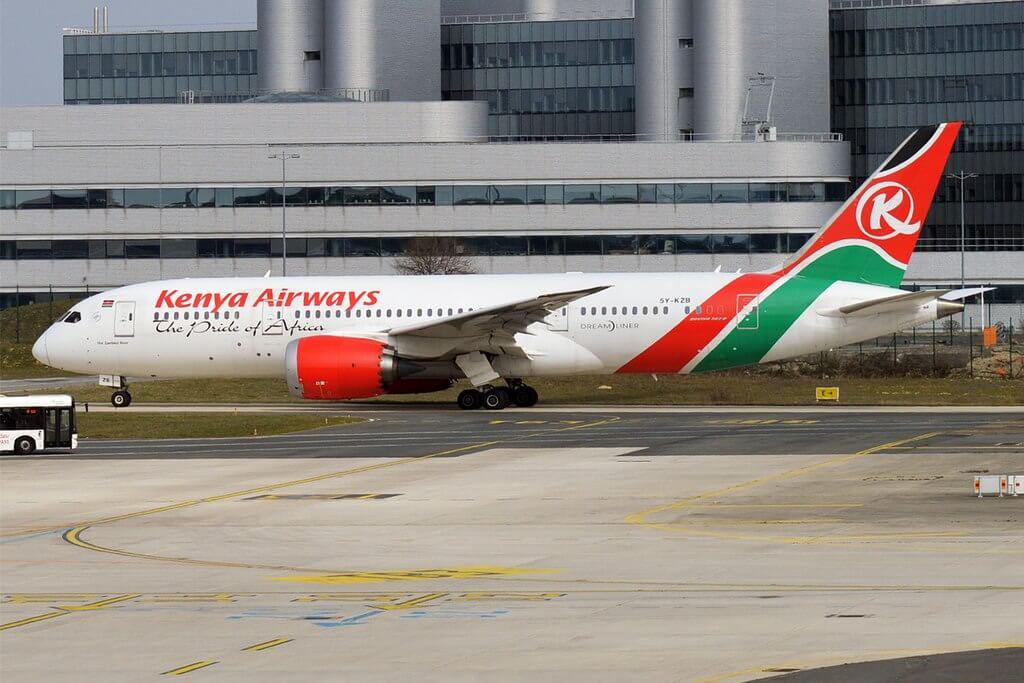 Kenya Airways 5Y KZB Boeing 787 8 Dreamliner The Zambezi River at Paris Charles de Gaulle Airport