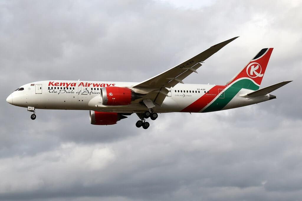 Kenya Airways 5Y KZF Boeing 787 8 Dreamliner at London Heathrow Airport