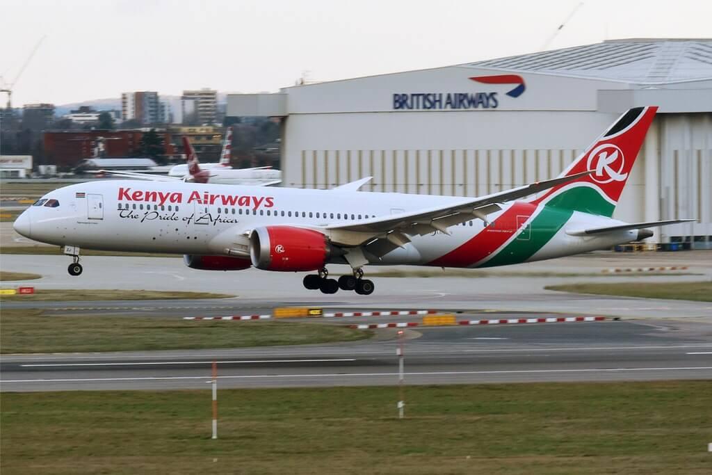Kenya Airways 5Y KZJ Boeing 787 8 Dreamliner Ngorongoro Crater at London Heathrow Airport