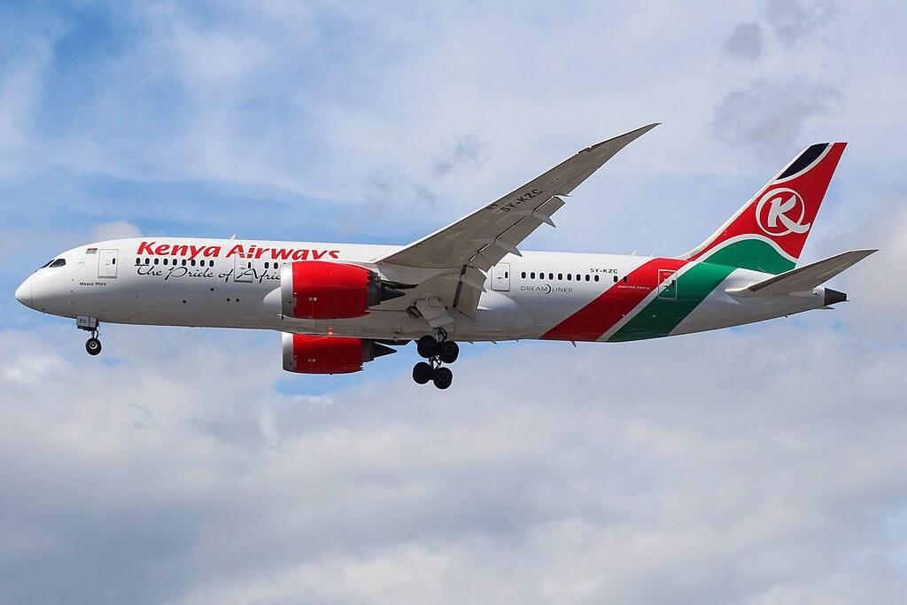 Maasai Mara 5Y KZC Boeing 787 8 Dreamliner Kenya Airways at London Heathrow Airport