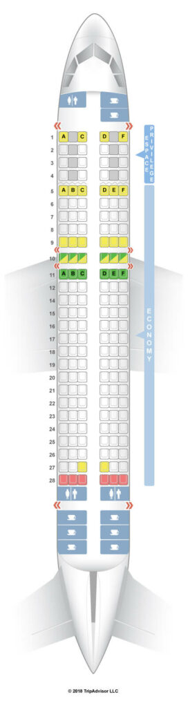 Seat Map and Seating Chart Airbus A320 200 Tunisair