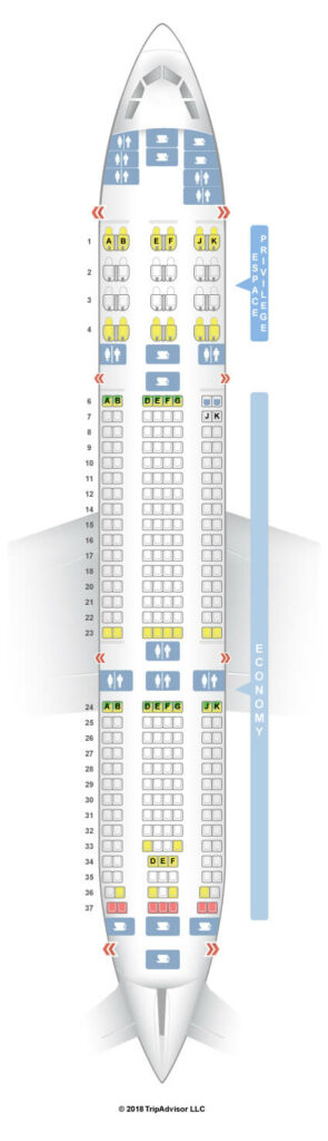 Seat Map and Seating Chart Tunisair Airbus A330 200