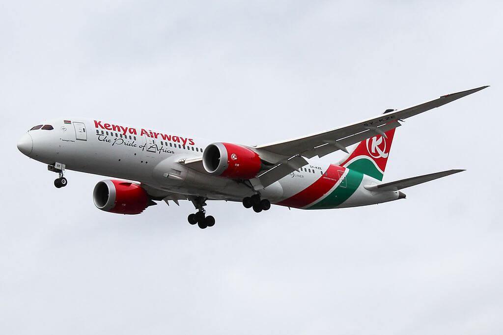 Serengeti Plains 5Y KZE Boeing 787 8 Dreamliner Kenya Airways at London Heathrow Airport