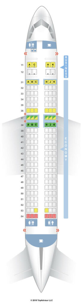 Seat Map and Seating Chart Hong Kong Airlines Airbus A320 200 Business Class