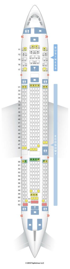 Seat Map and Seating Chart Hong Kong Airlines Airbus A330 200 Layout 33V