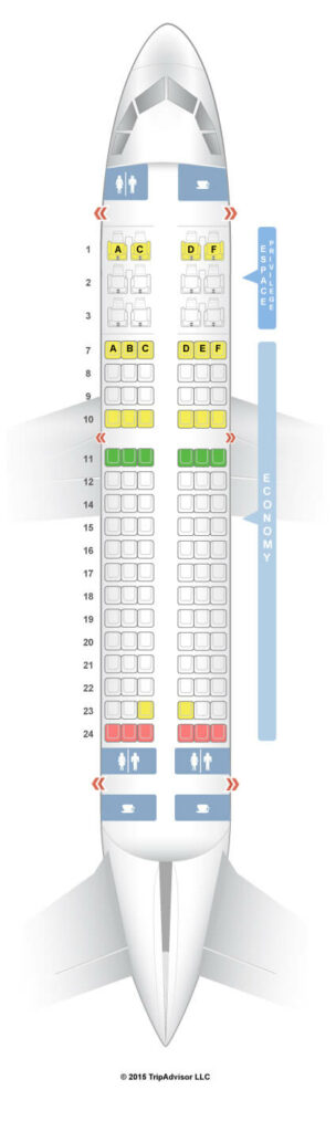 Seat Map and Seating Chart Tunisair Airbus A319 100 V1