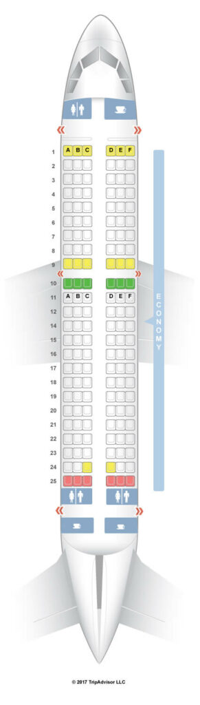 Seat Map and Seating Chart Tunisair Airbus A319 100 V2