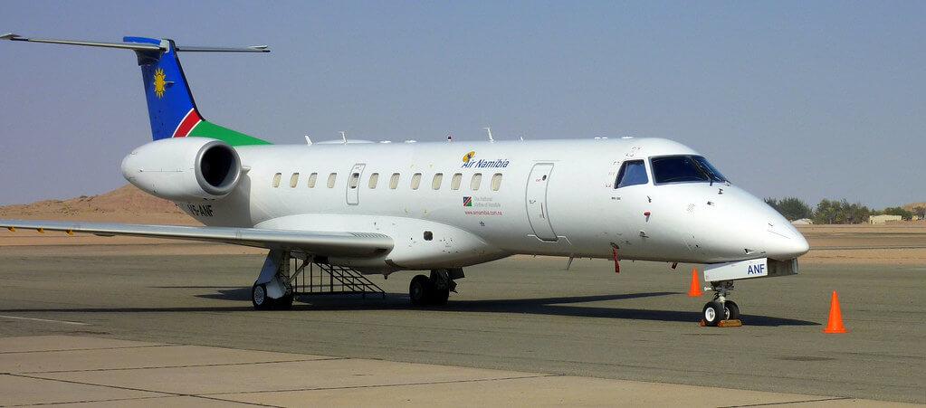 Air Namibia Embraer ERJ 135ER V5 ANF parked on tarmac at Walvis Bay Namibia