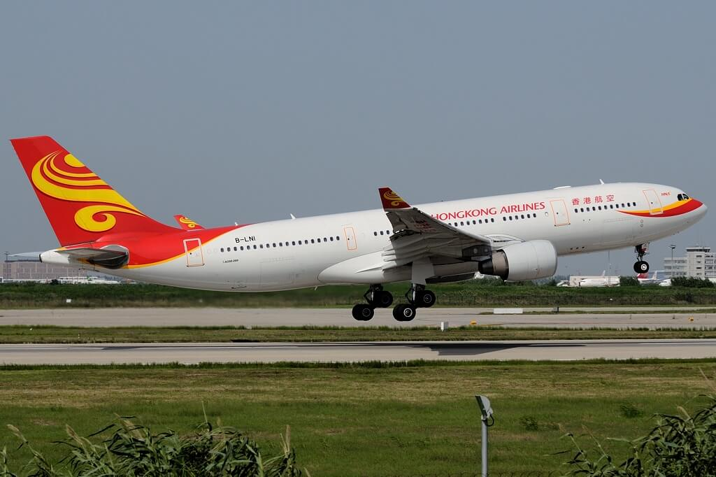 Airbus A330 223 Hong Kong Airlines B LNI at Shanghai Pudong International Airport