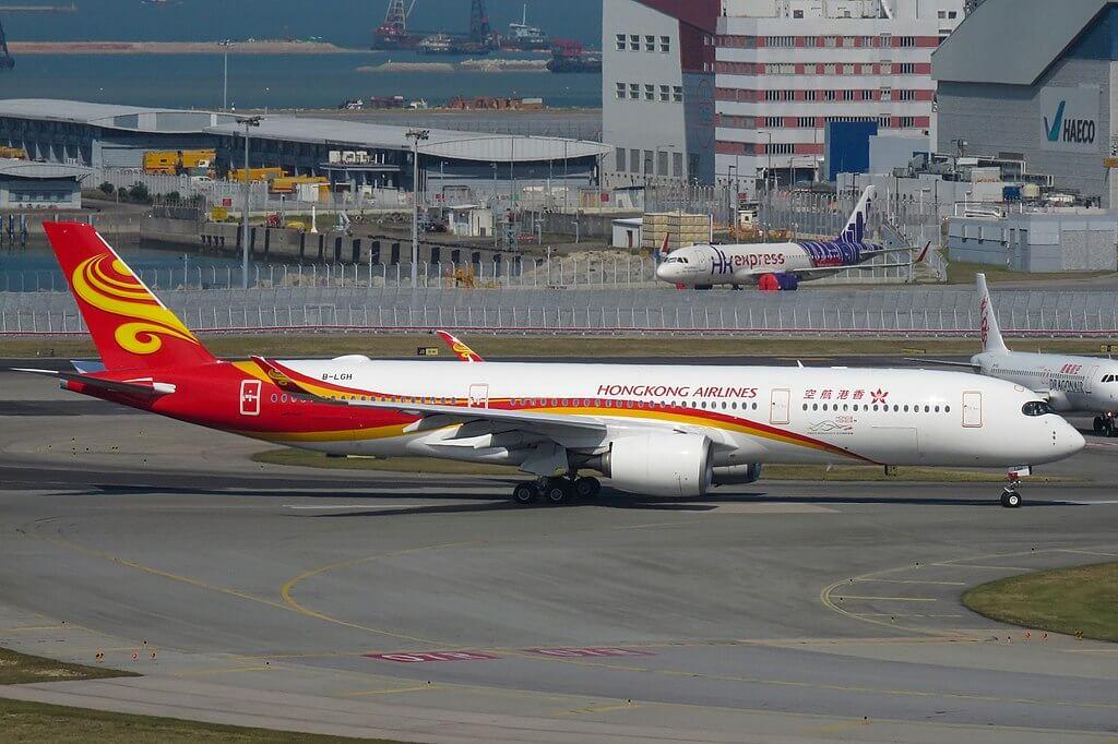 B LGH Airbus A350 900 of Hong Kong Airlines at Hong Kong International Airport