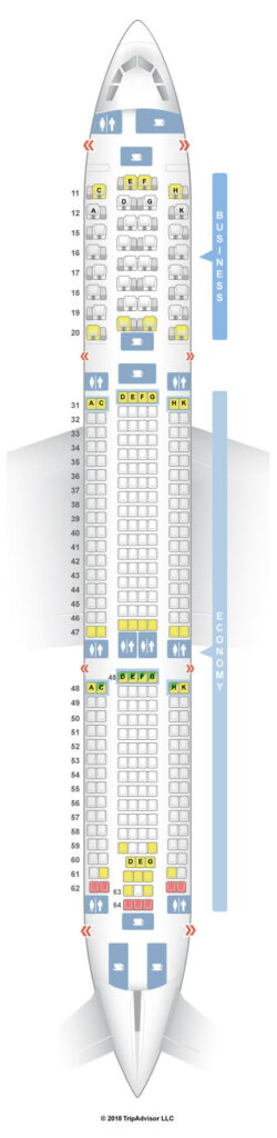 Seat Map and Seating Chart Hong Kong Airlines Airbus A330 300 Cabin Layout 333