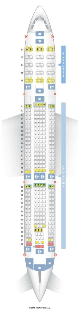 Seat Map and Seating Chart Hong Kong Airlines Airbus A330 300 Cabin Layout 33S