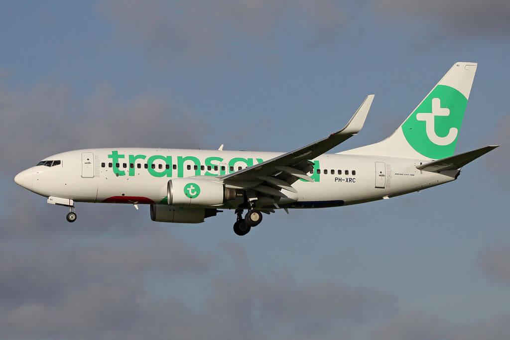 Transavia Airlines Boeing 737 7K2 PH XRC on finals at Rotterdam